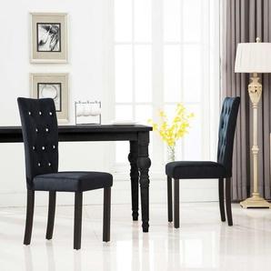 Chaises de salle à manger 2 pcs Noir Velours - VIDAXL