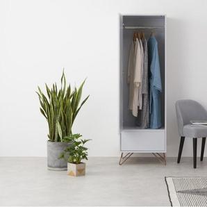 Elona, armoire une porte, gris et cuivre - Armoires - Meubles