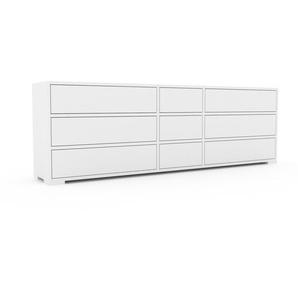 Commode - Blanc, pièce de caractère, sophistiquée, avec tiroir Blanc - 190 x 62 x 35 cm, personnalisable