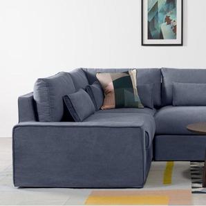 Trent, canapé d'angle panoramique déhoussable modulable, coton délavé bleu