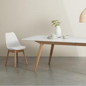 Aveiro, table à rallonge, chêne naturel et blanc