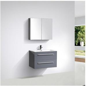 Meuble salle de bain design simple vasque SIENA largeur 80 cm, gris laqué - STANO.