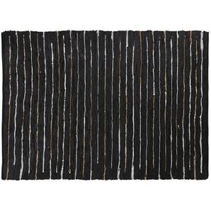 Tapis en cuir de vache et coton motifs à rayures 160x230
