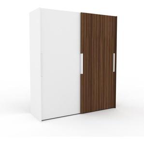 Dressing - blanc/noyer, design, armoire penderie pour chambre ou entrée, haut de gamme, avec portes coulissantes - 204 x 233 x 65 cm, modulable