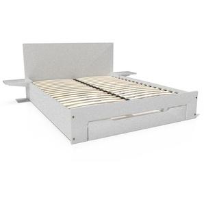Lit Happy + tiroirs + chevets amovibles - 2 places 160x200 Gris Aluminium