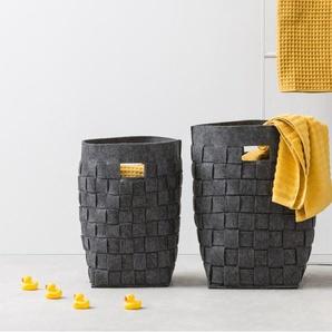 Essentials – Bask, lot de deux paniers à linge tissés en feutre, charbon