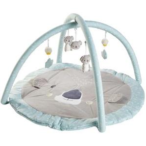 Tapis déveil bébé rond en coton gris et bleu D90