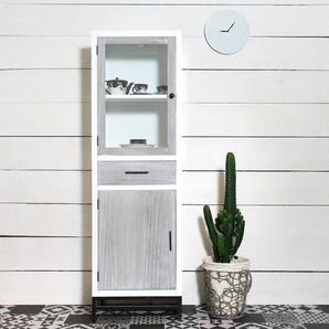 Colonne vitrée MDF bois blanchi style contemporain