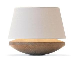 KJELL-Lampe à poser Chêne & Tissu H25,5cm crême Domus