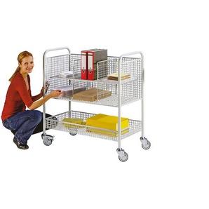 EUROKRAFT Chariot de bureau et pour courrier - force 150 kg, 3 plateaux - L x l x h 1055 x 500 x 1100 mm, gris clair