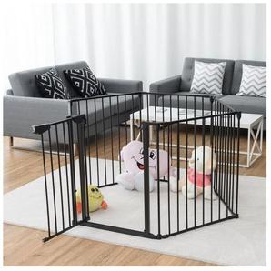 Barrière de Sécurité Enfant Bébé Grille de Protection pour Cheminée Escaliers et Parc 8 Pans Noir - COSTWAY