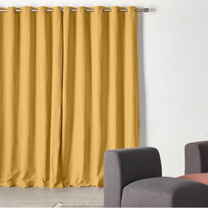 Wespa, une paire de rideaux à œillets doublés en coton 168 x 182 cm, jaune moutarde