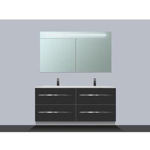 Saniclass Exclusive Line Kera Meuble avec armoire miroir 120cm 4 tiroirs Black Diamond