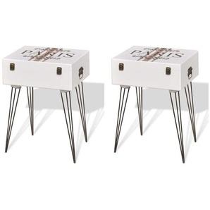 Table de nuit chevet commode armoire meuble chambre 2 pcs 40x30x57 cm blanc - Blanc - HELLOSHOP26
