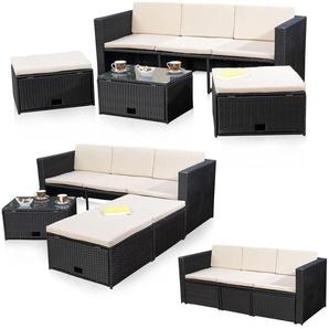 Meubles en rotin canapé en rotin noir et 2 tabouret, style lounge - MUCOLA