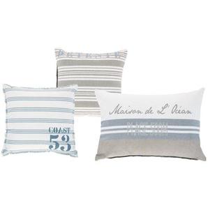 3 coussins en coton écrus et bleus 30 x 30 cm à 50 x 50 cm BROCANTE DE LA MER
