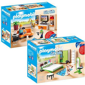 Playmobil Meubles Villa Moderne Set: 9267 Salon Équipé + 9271 Chambre avec Espace Maquillage