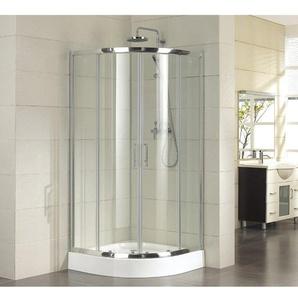 Saniclass Neptune 2142 Cabine de douche 90x90x210cm profil chromé et vitre transparente avec receveur profond Blanc SW422