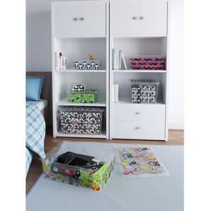 ABM Kis 8418000223401 Boîte de rangement C box Style - 50 L - Polypropylène- Décor animaux - Noir, rose et gris -Transparent, X-Larg