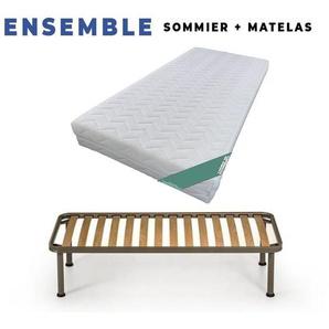 Lot de 2 Matelas 90x190 + Sommiers + pieds Offerts Mousse Poli Lattex Ind - KING OF DREAMS