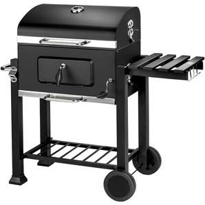 Barbecue Charbon de Bois à 2 Roues 2 Grilles et 1 Thermomètre en Métal Noir - TECTAKE