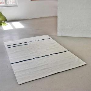 Tapis rectangulaire en coton écru tissé main surpiqûre bleue 140x200 cm