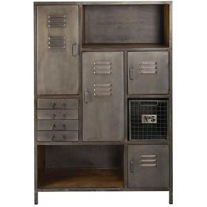 Cabinet de rangement 4 portes 4 tiroirs en métal et manguier Lewis
