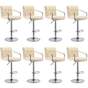 lot de 8tabourets de bar en 6 grilles siège chaise bistrot en hauteur pivotant - JEOBEST