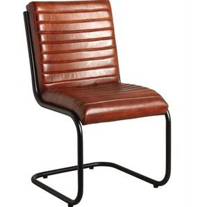 Chaise en cuir et métal coloris brun - Dim : 50 x 60 x 90 cm -PEGANE-
