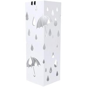 Porte parapluie en métal carré avec un plateau et crochets 15,5 x 49 x 15,5cm blanc LUC49W - SONGMICS