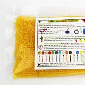100 grammes billes hydrogel, perles deau déshydratées (jaune doré). Le moins cher frais de port compris, comparez le poids et non pas le nombre de billes, de sachets.
