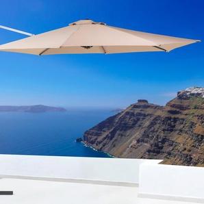 Parasol en métal et toile beige sable SAVONA