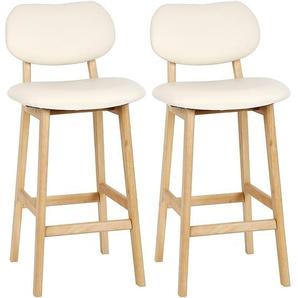 2 x Tabouret de bar avec pieds en bois, Tabouret de cuisine avec siège en similicuir, Crème - OOBEST