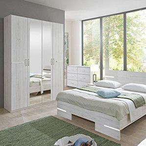 PEGANE Chambre Adulte Imitation chêne Blanc en Panneaux de Particules - Dim : 160 X 200 cm