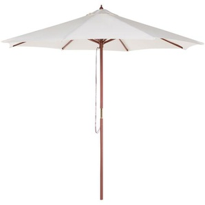Parasol en bois toile beige clair sans lambrequin TOSCANA