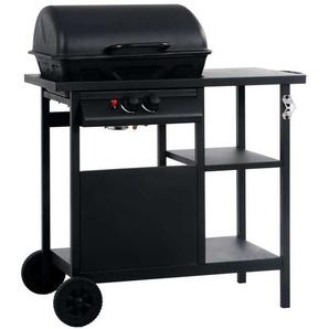 Hommoo Barbecue à gaz avec table latérale à 3 niveaux Noir