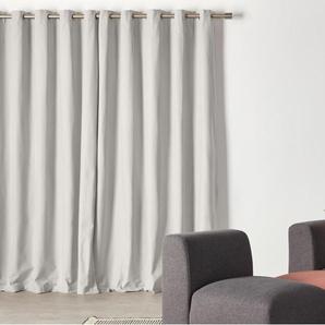 Wespa, une paire de rideaux à œillets doublés en coton 168 x 228 cm, gris clair