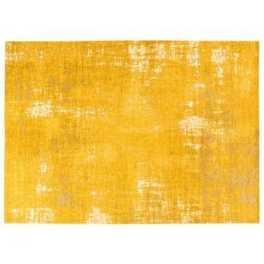 Tapis jaune moutarde motifs jacquard 200x290