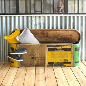 Banc coffre coloré bois et métal recyclé