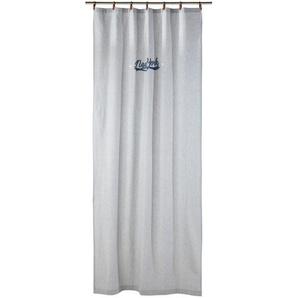 Rideau à passants en coton gris imprimé à lunité 110x250