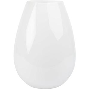 Vase poire en verre teinté blanc H25