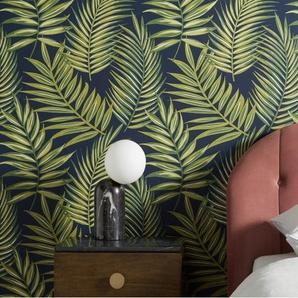 Fenna, papier peint motif palmes, rouleau de 10 m, gris acier et vert