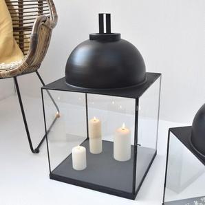 Lanterne format carré XXL en verre et métal noir mat hauteur 62 cm