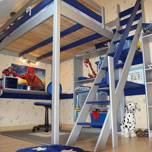 Lit Mezzanine Sylvia avec escalier de meunier bois 160x200 Gris alu/Bleu