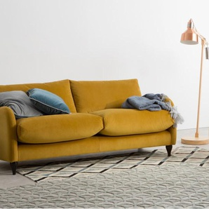 Sofia, canapé 3 places, velours jaune curcuma