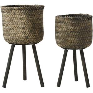 2 cache-pots en bambou et pin noirs H66