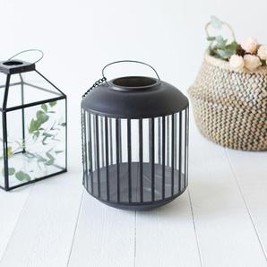Lanterne ronde ou photophore en verre et métal noir mat avec anse et crochet