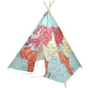 Sunny Tipi pour Enfant World Map en Tissu et Bois Multicolore 1,60 m