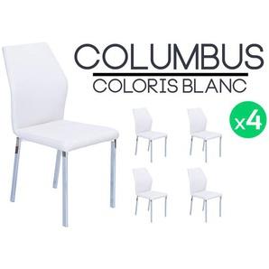 Columbus - Lot de 4 Chaises Blanches