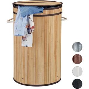 Panier à linge bambou, pliable, Corbeille à linge ronde, 65 L, Sac à linge, Ø 40 cm, nature - RELAXDAYS